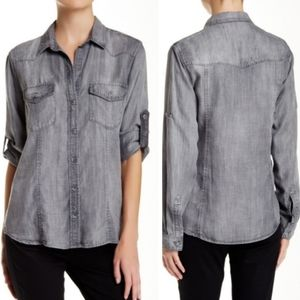 Bella Dahl chambray tencel button up shirt gray S